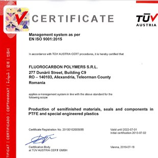 Fluorocarbon Polymers S.R.L. ISO 9001:2015Certificate